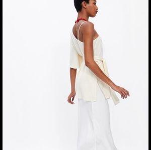 Zara Tops - NWT Zara Belted Asymmetric Top Cream 2873/841